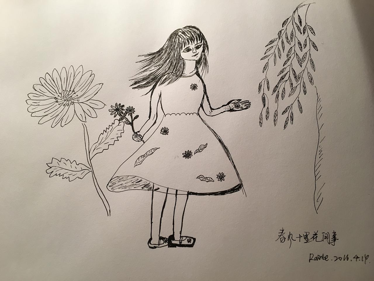春风来了 在花间诉说衷肠 穿着纱裙曼妙的姑娘