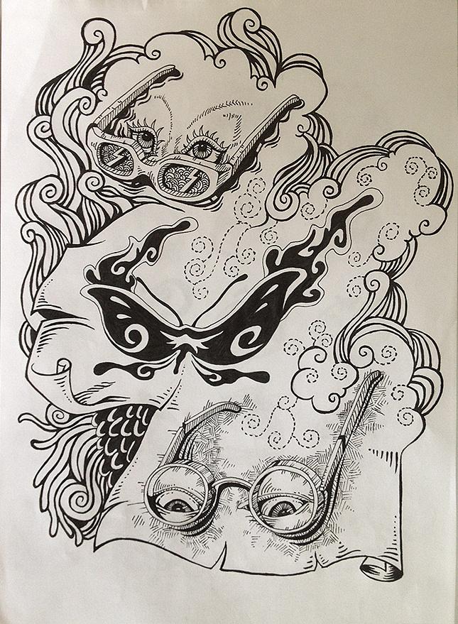 针笔手绘卡通动物