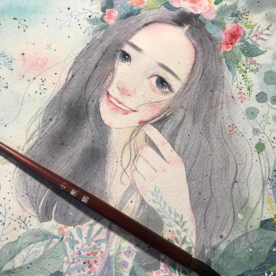 【小熊猫】水彩手绘人物水彩插画教程人物卡通头像