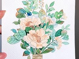 水彩花卉小过程