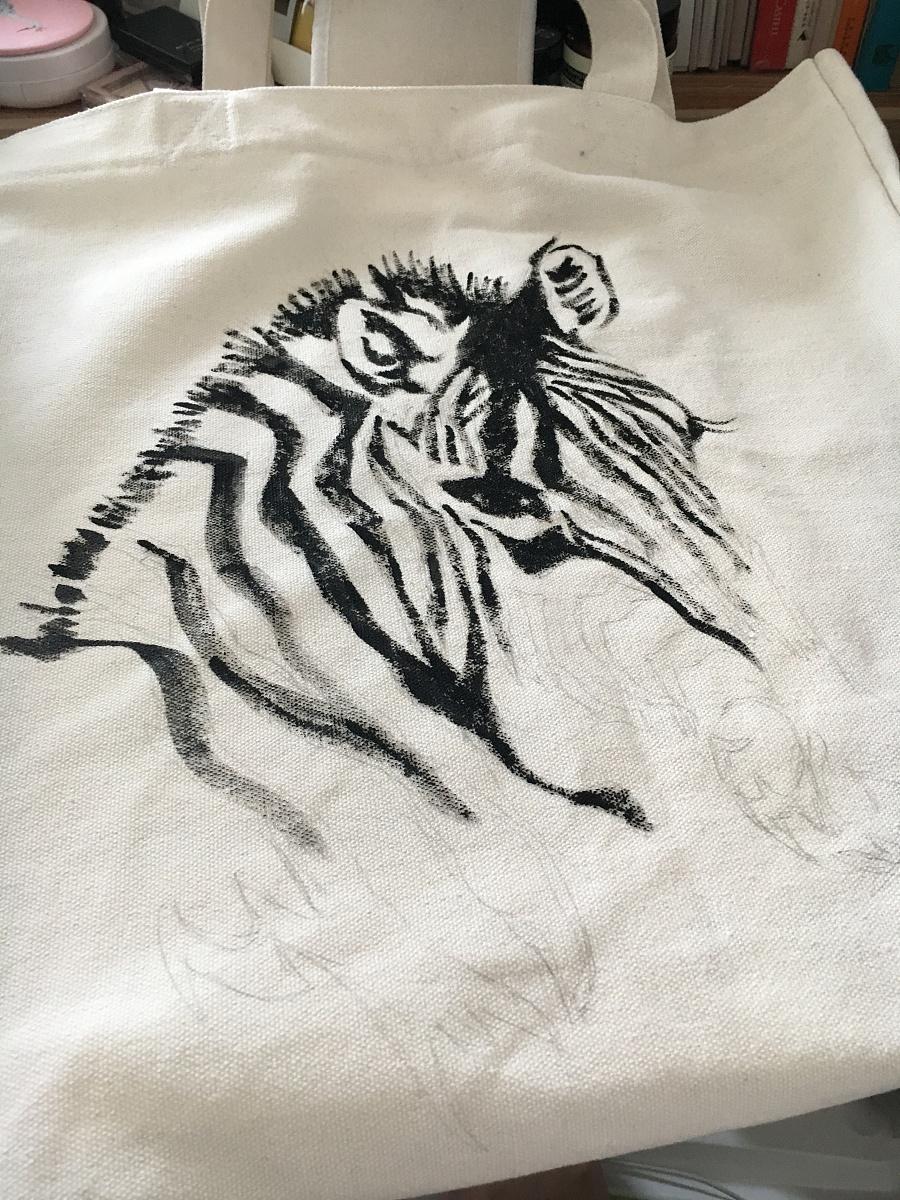 帆布袋子手绘斑马