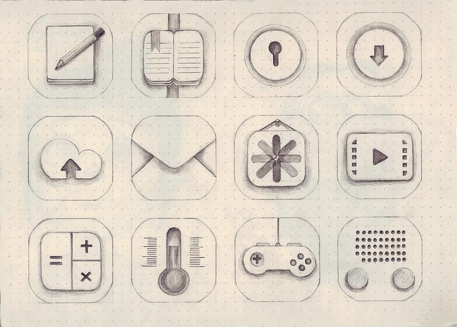 手绘手机图标一套