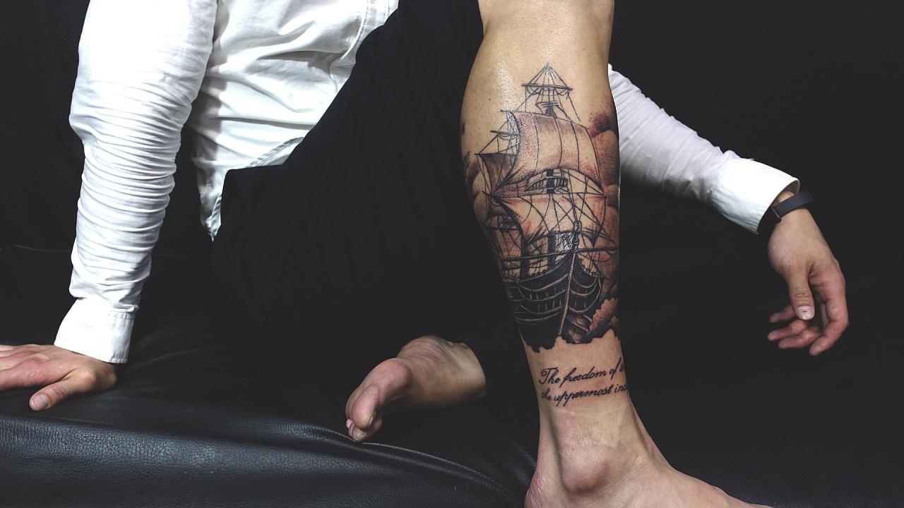 包腿纹身图片大全中国风铭文图案纹身男人纹身图... - 纹身帮图库