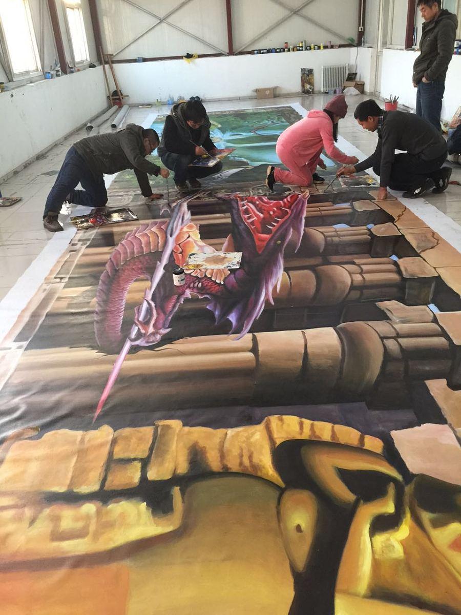 北京纯手绘3d立体画《勇闯埃及神殿》|油画|纯艺术