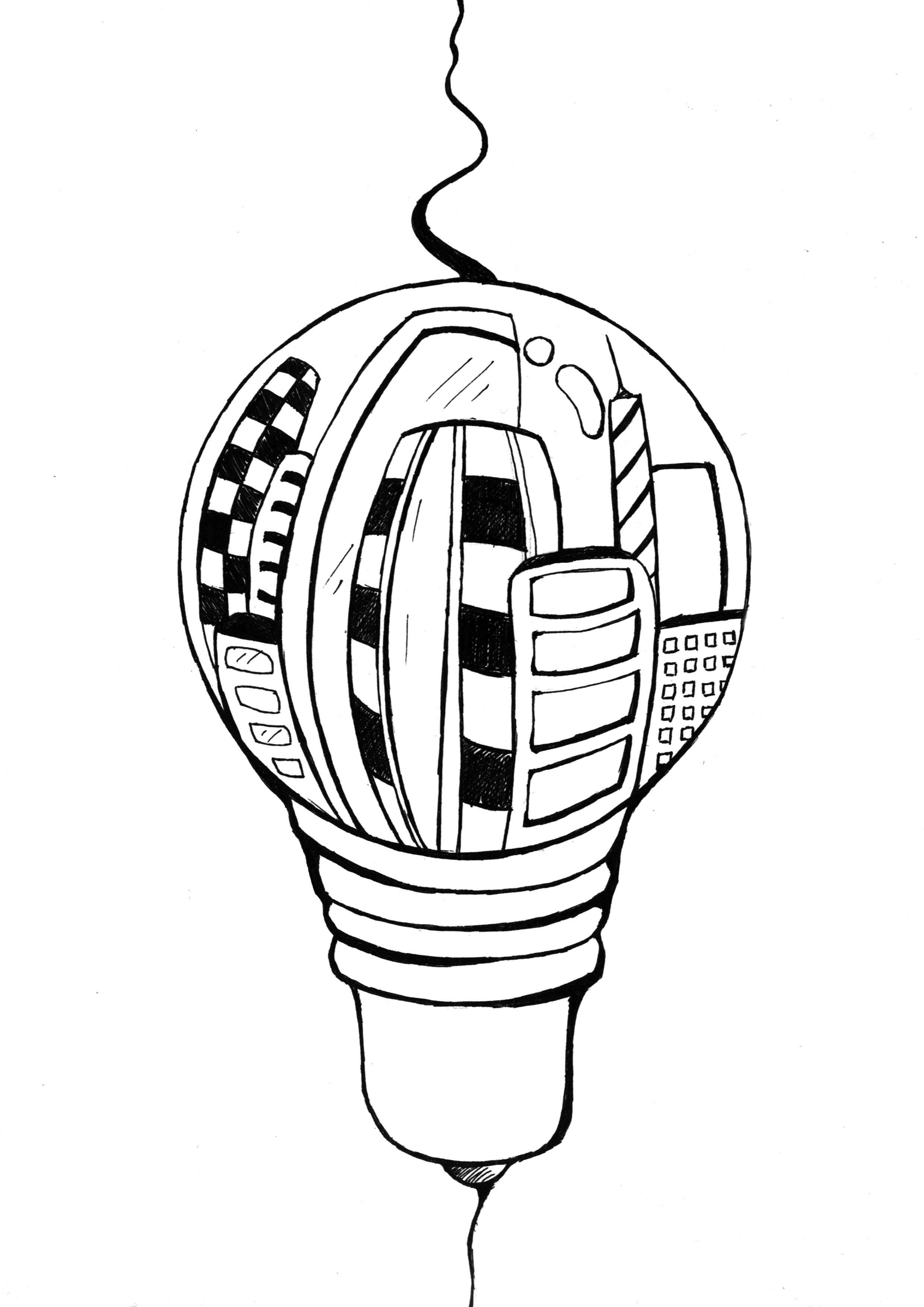 灯泡的简笔画-圈中