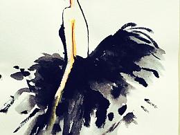 水彩小黑裙