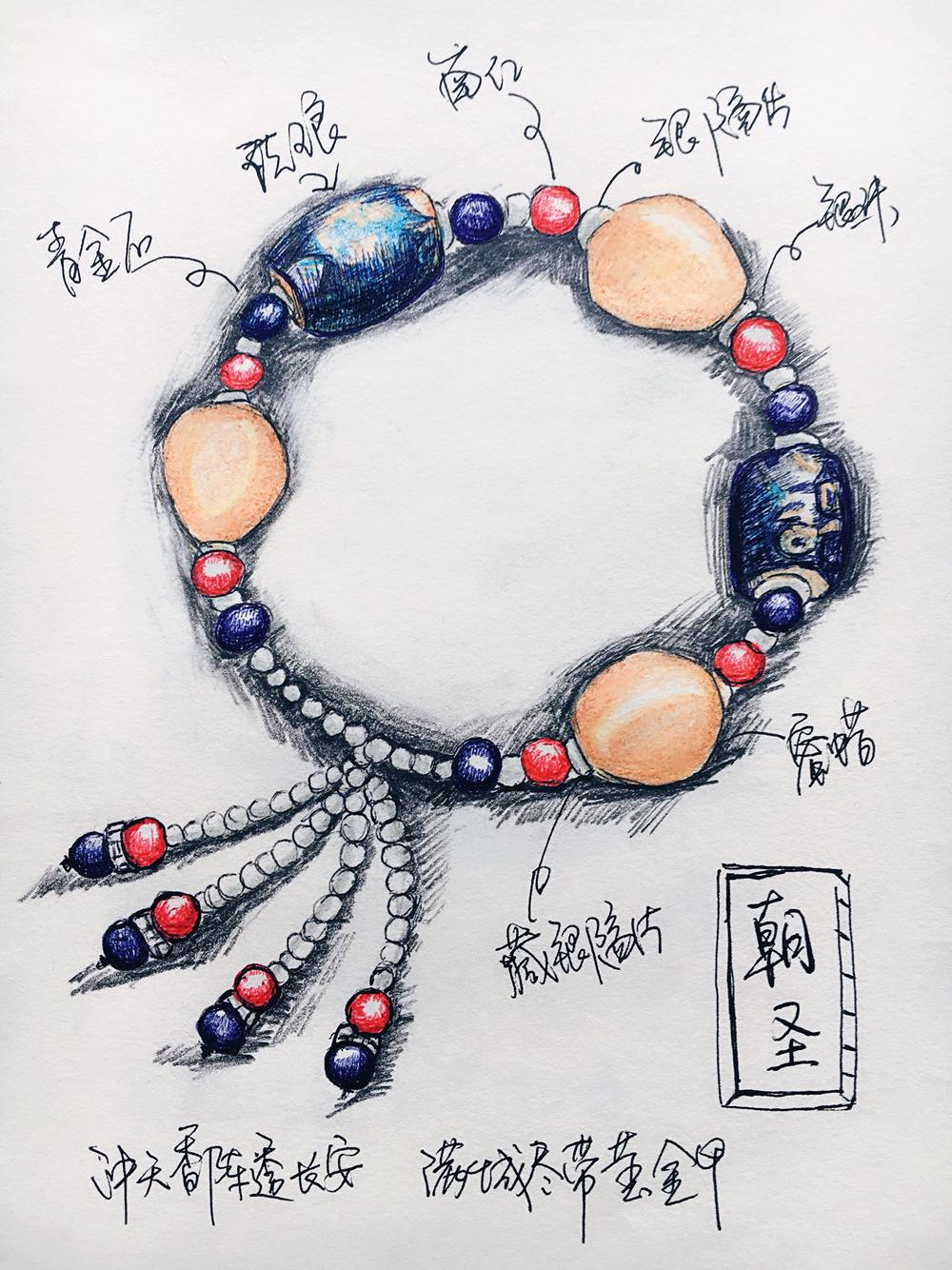 原创手绘晶石手链