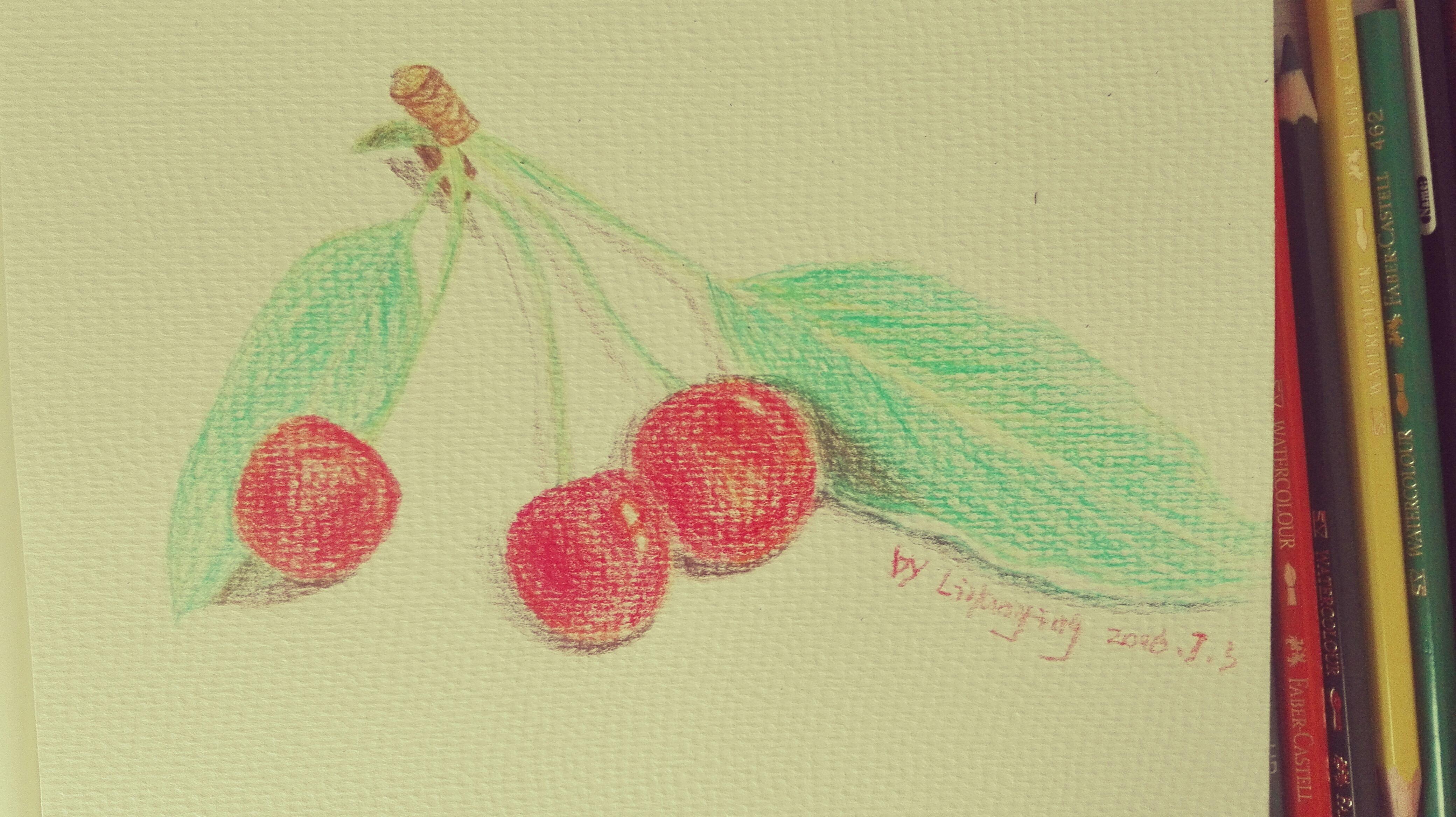 手绘樱桃,水溶性彩铅