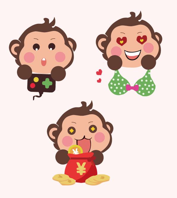 2016新年手绘猴子矢量卡通创意h5素材 海报 平面 小