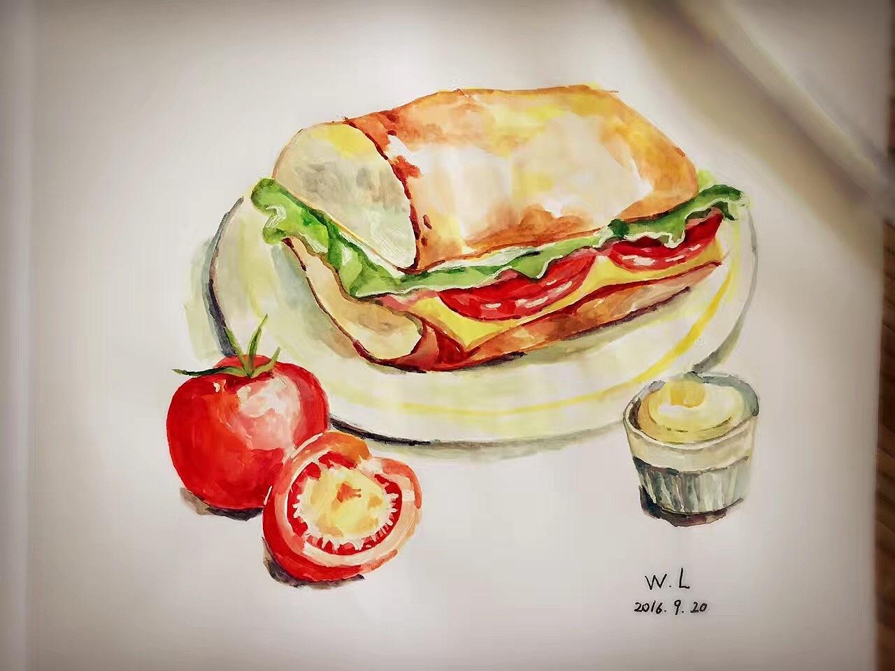 美食手绘图片水粉