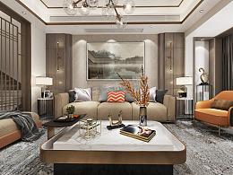 美利溪镇联排别墅装修,优雅新中式风格设计效果图
