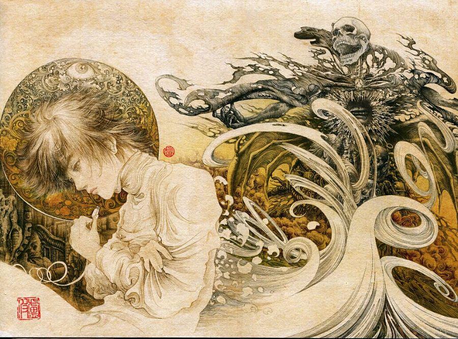 小说《玺》最新毛笔手绘插图|概念设定|插画|卢波