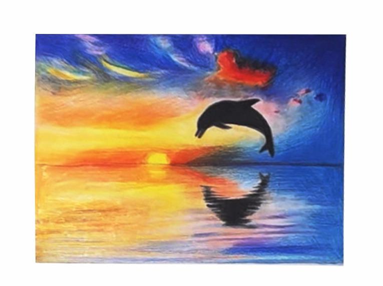 旖旎的海上彩铅风景和小海豚的剪影