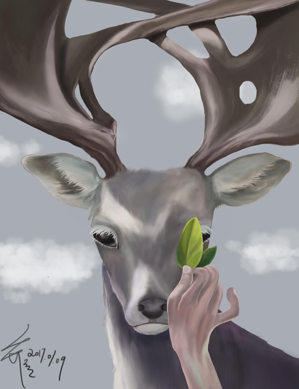临摹 手绘 麋鹿