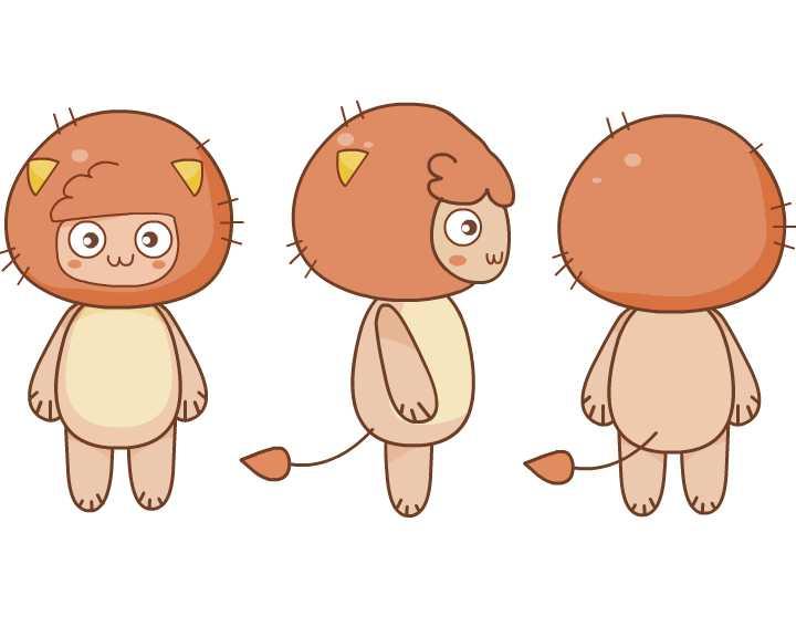 可爱卡通人物三视图