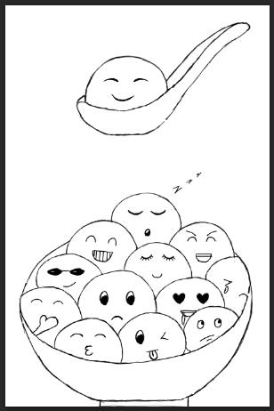 卡通汤圆简笔画