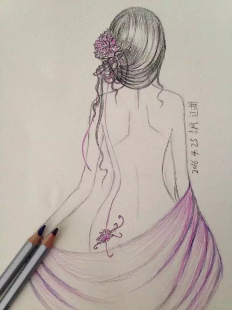 彩铅手绘|绘画习作|插画|薄荷味的笑