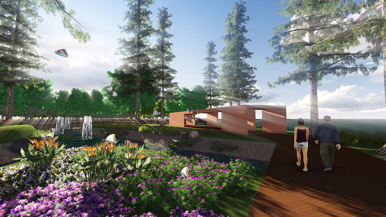 雨水花园-一条道路两侧景观设计图片