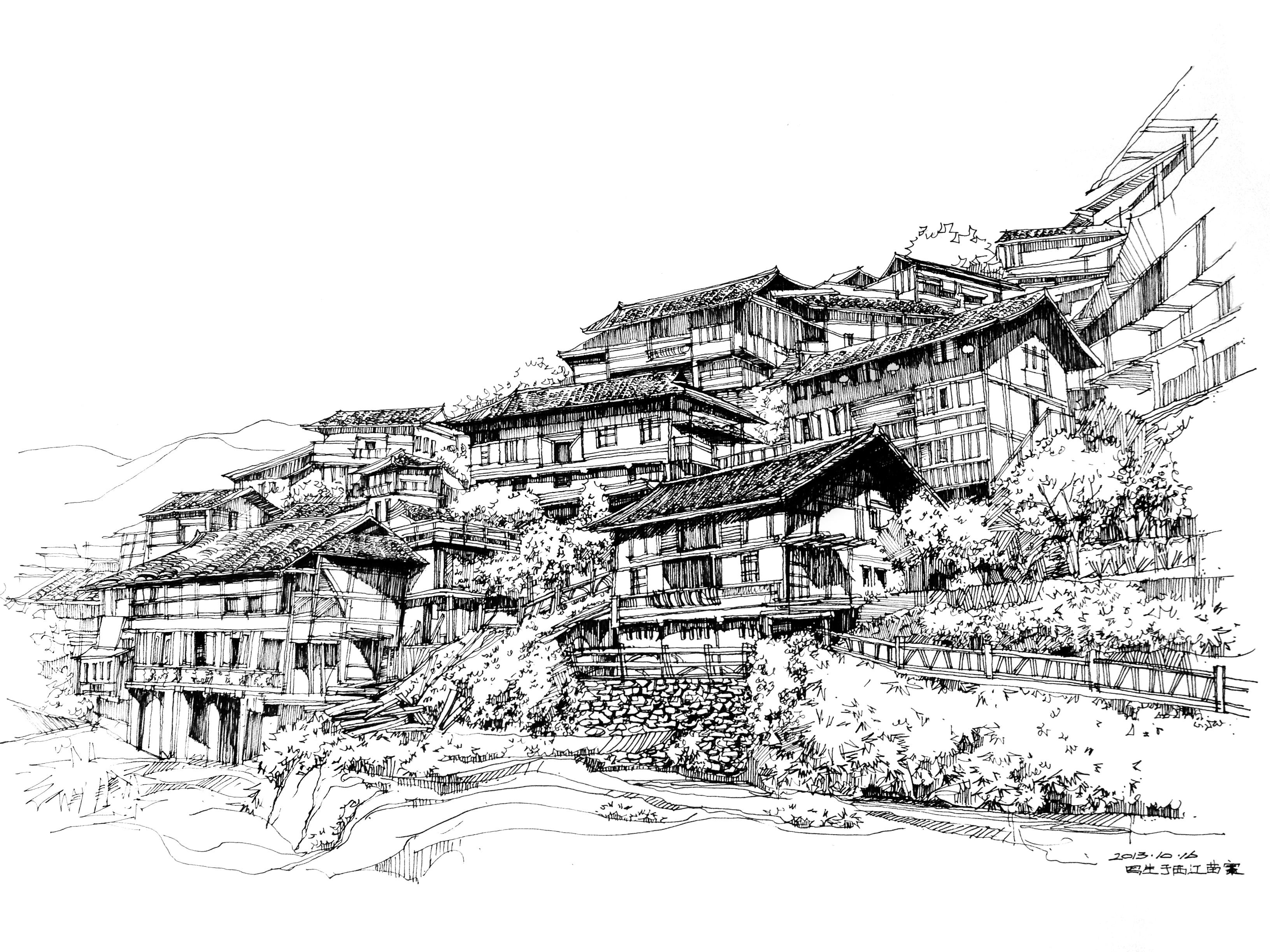 江西苗寨写生手绘图