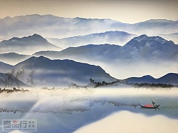 新中式山水墙体彩绘|太原墙绘|太原彩绘|太原手绘墙