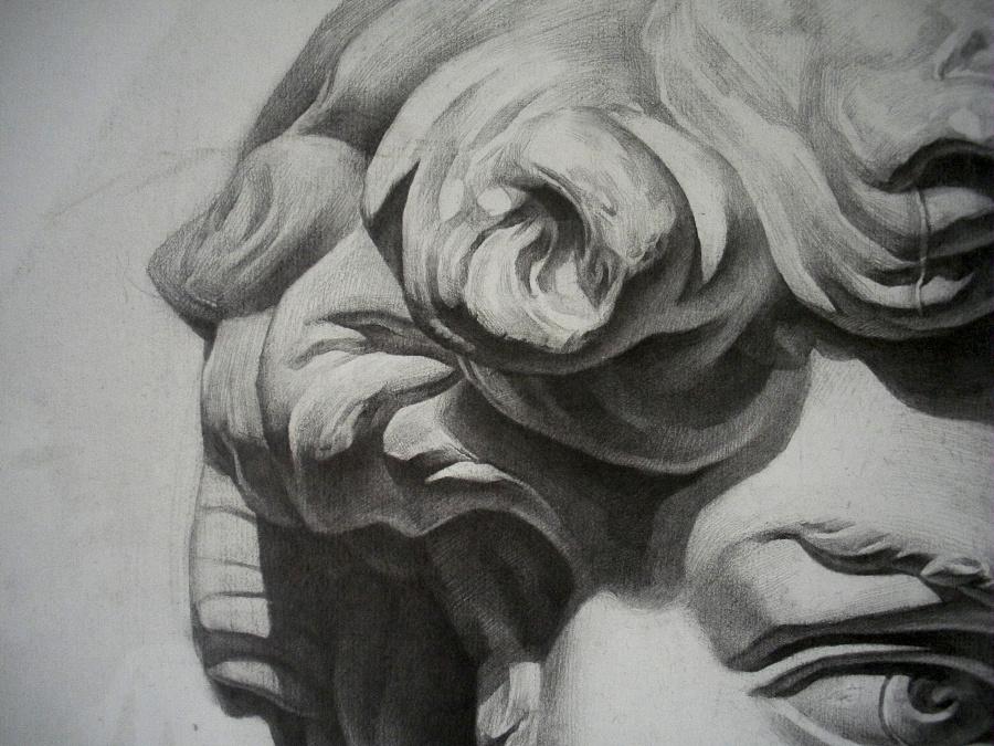 大卫石膏头像素描结构图图片