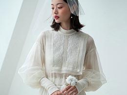 洛丽塔,羊毛真丝拼接连衣裙