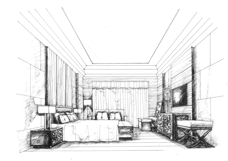 卧室手绘|空间|室内设计|mhc绘 - 原创作品 - 站酷