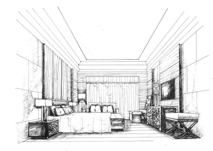 卧室手绘|室内设计|空间/建筑|mhc绘