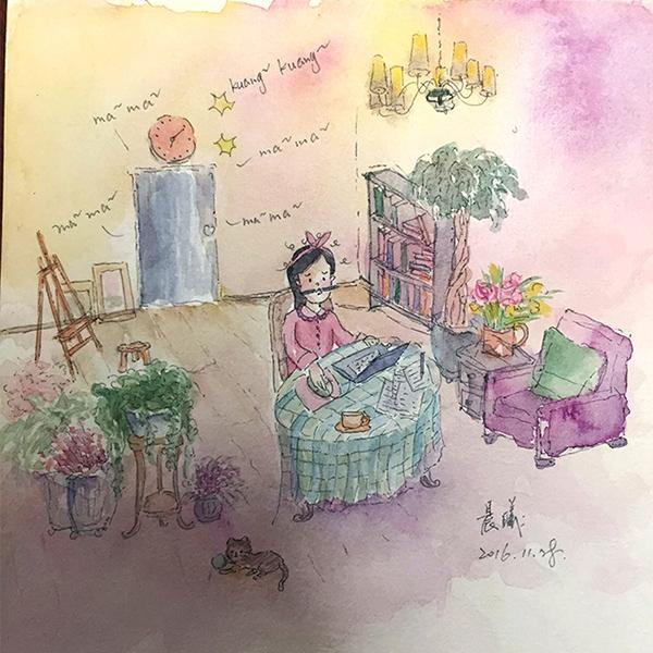 水彩手绘 《妈妈快来陪我玩儿》