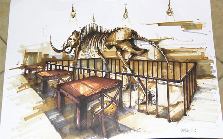 餐饮空间效果图手绘|室内设计|空间/建筑|猫叔卐