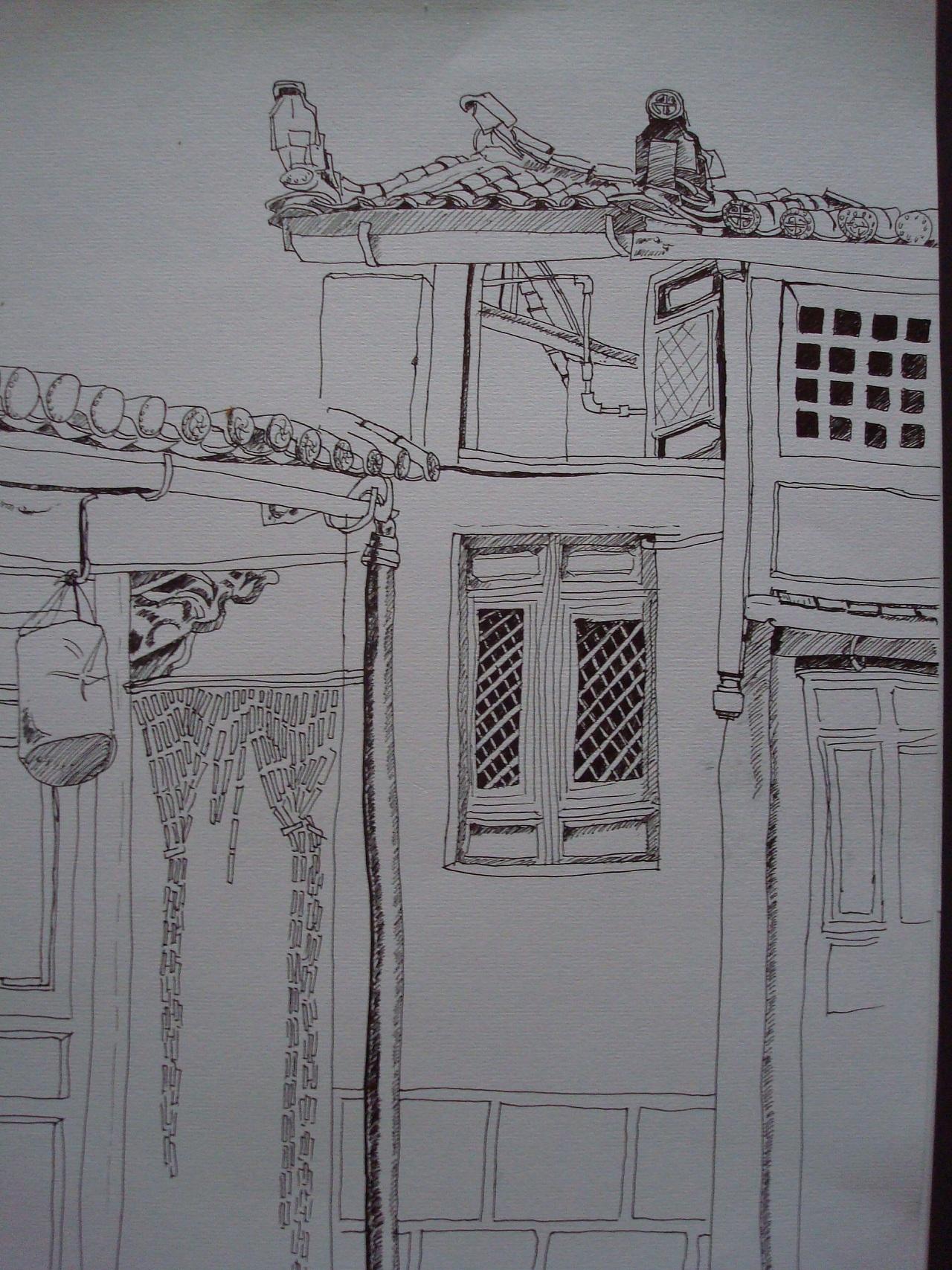 纯钢笔画--丽江古城