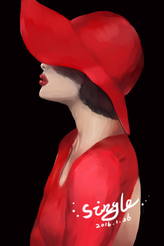 红衣女子-手绘