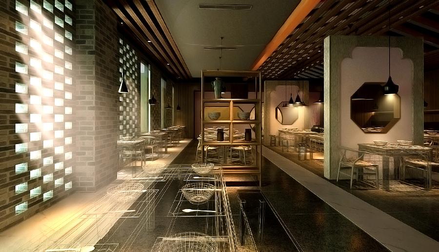 中式店面空间设计--敕勒川|展示/橱窗/餐饮v店面ets教程图片