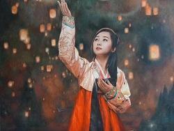 朝鲜画,天灯下的美人
