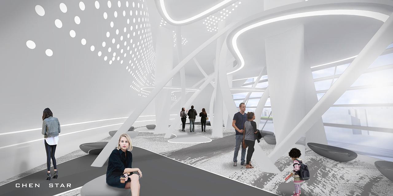 """山展览馆是以""""山""""为主题的装置艺术展览馆,展示现代工业与传统山水图片"""