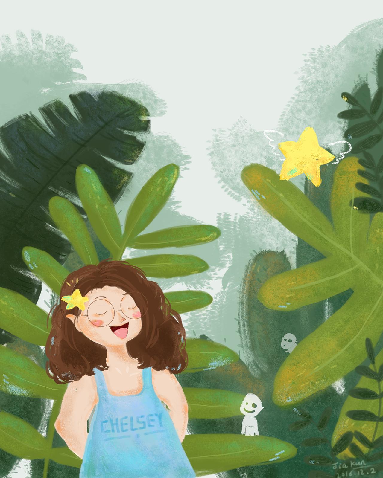原创-水彩手绘插画《森林精灵》 绘画过程