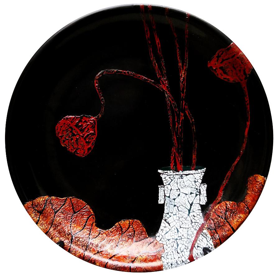 查看《《漆画·莲蓬》》原图,原图尺寸:3120x3104