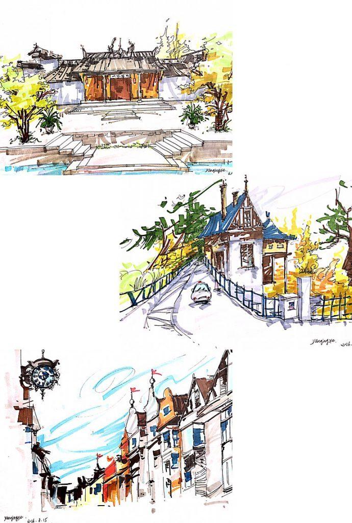 风景手绘|纯艺术|钢笔画|lauraxie - 原创作品 - 站酷
