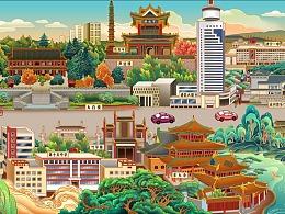 济宁城市主干线30米插画长卷——太白楼路