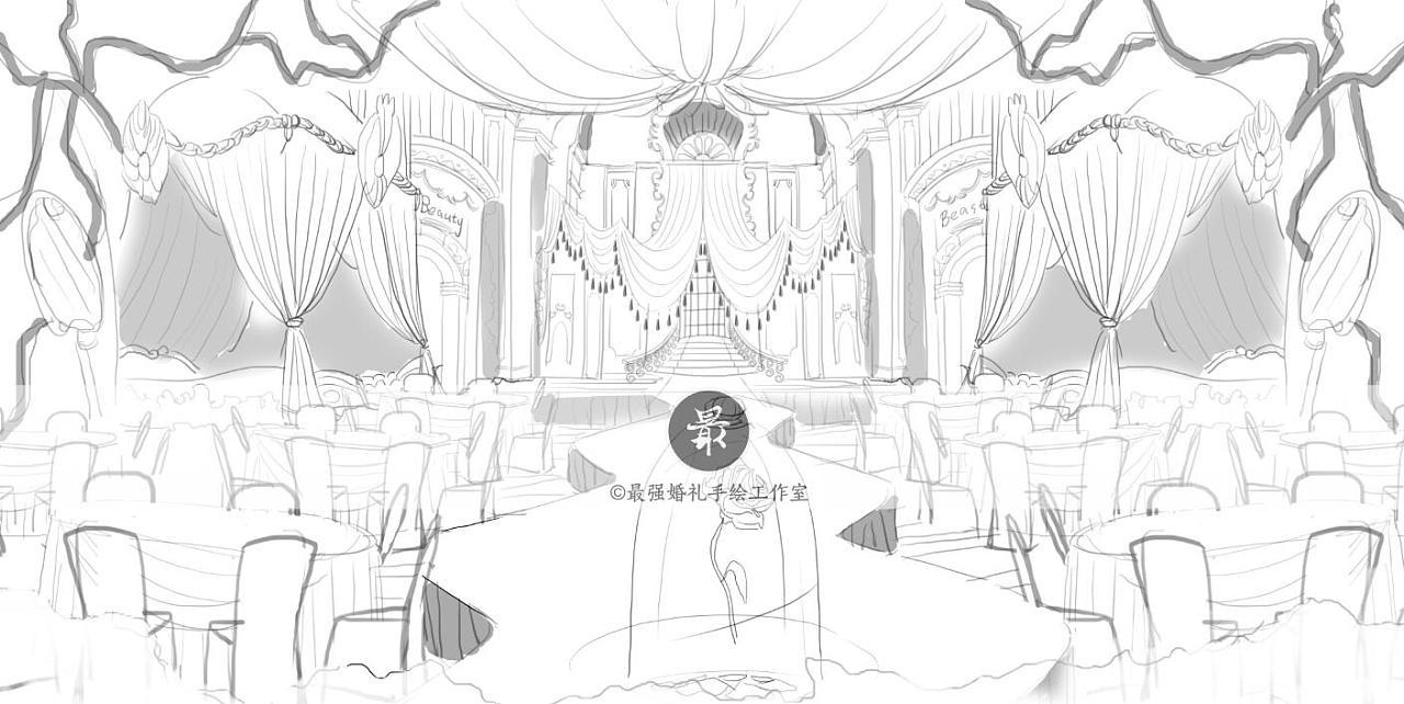 【婚礼手绘】电脑手绘—美女与野兽主题婚礼线稿图