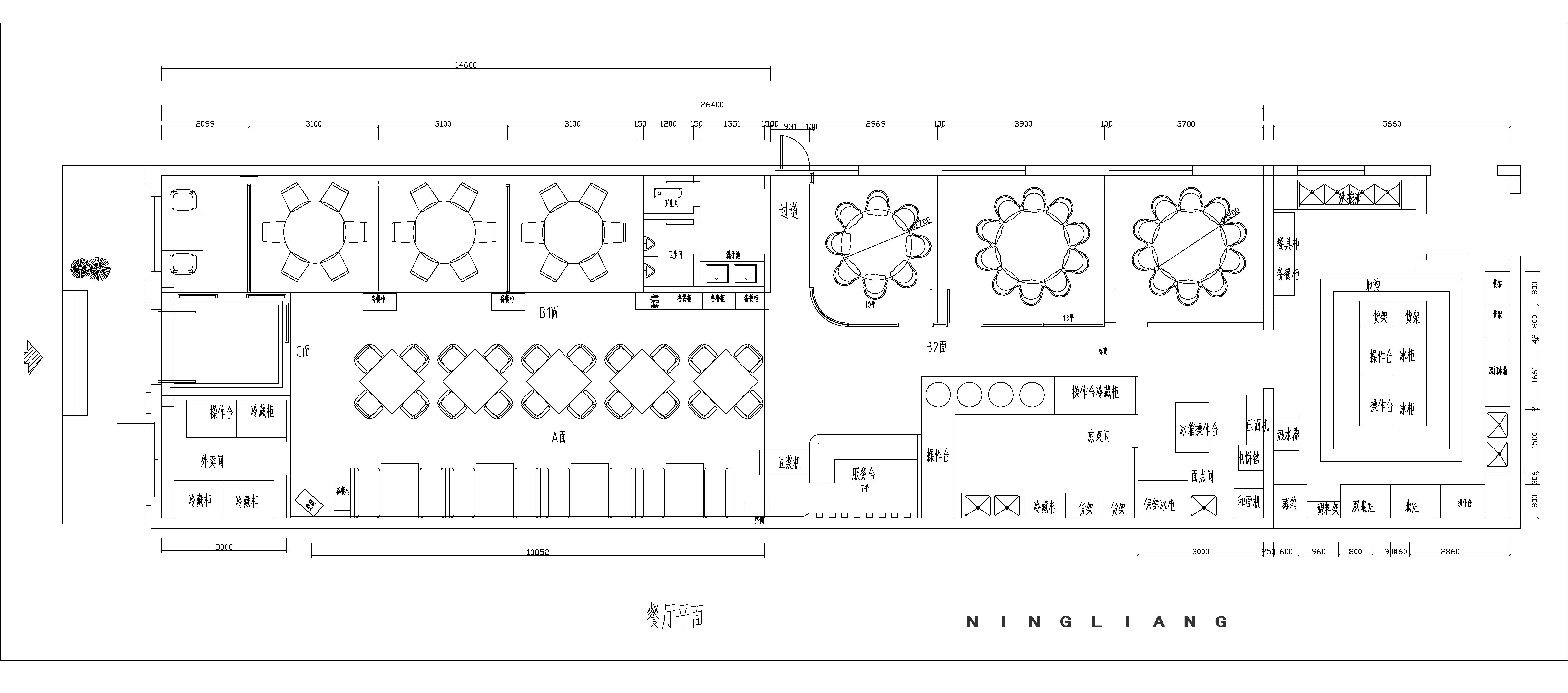 厨房设计手绘平面图