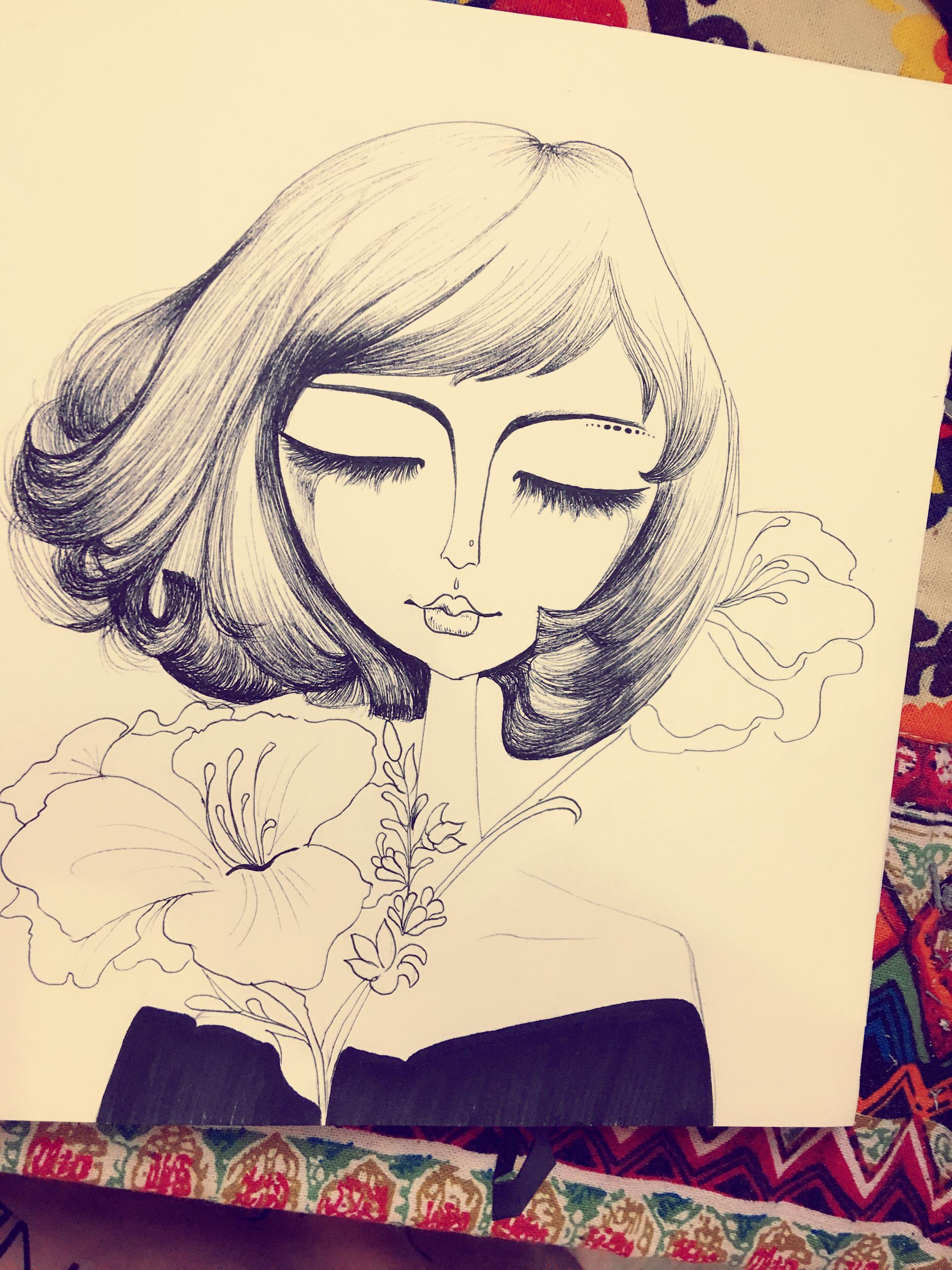 原创手绘,手绘插画,黑白装饰画