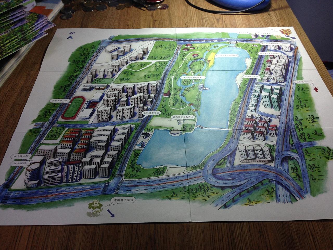 宁波日湖手绘地图