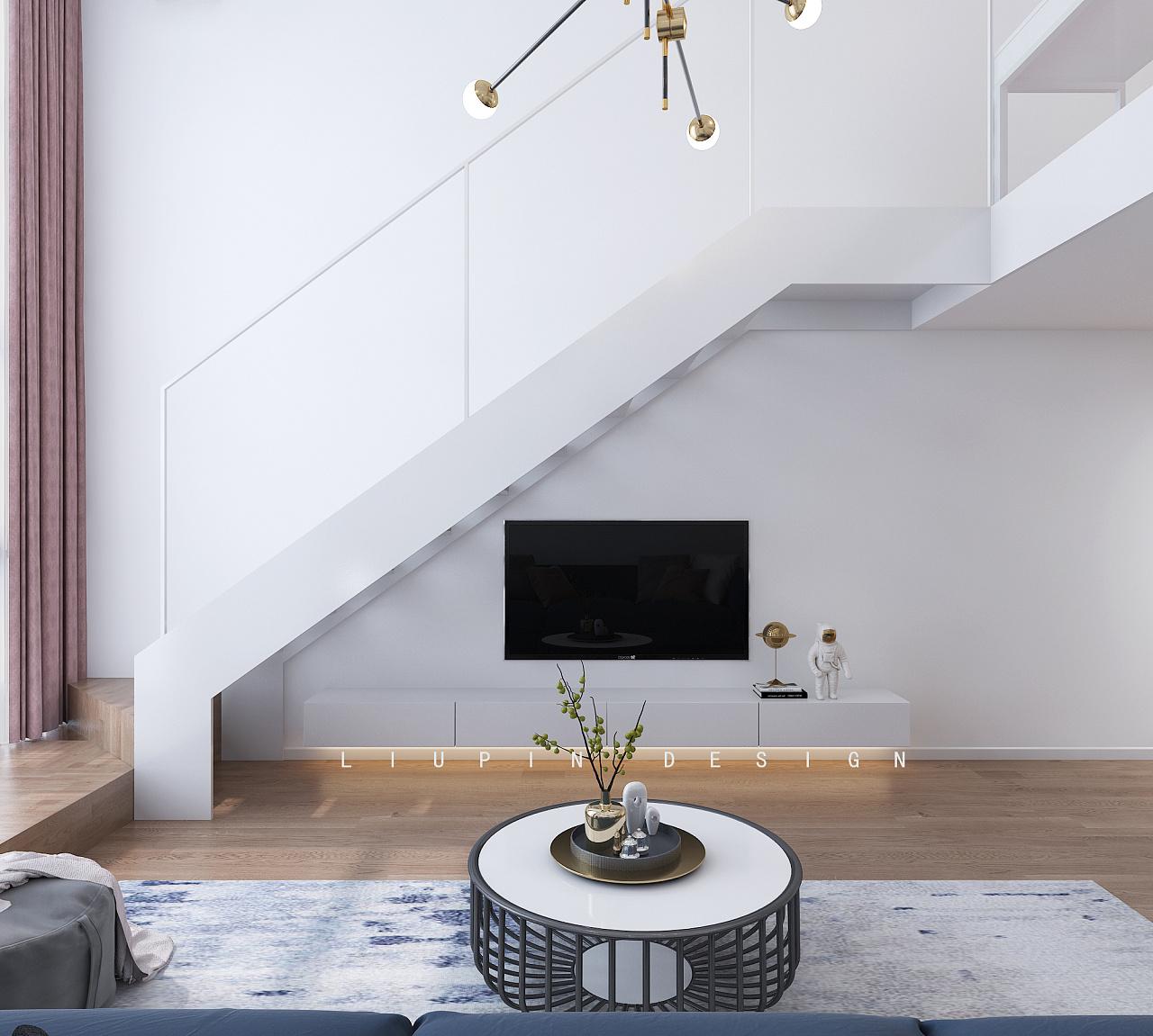 楼梯与电视墙的关系