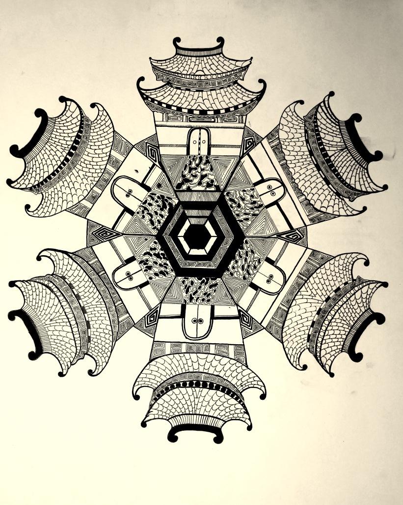 清西陵创意写生|绘画习作|插画|阿庆手绘图片
