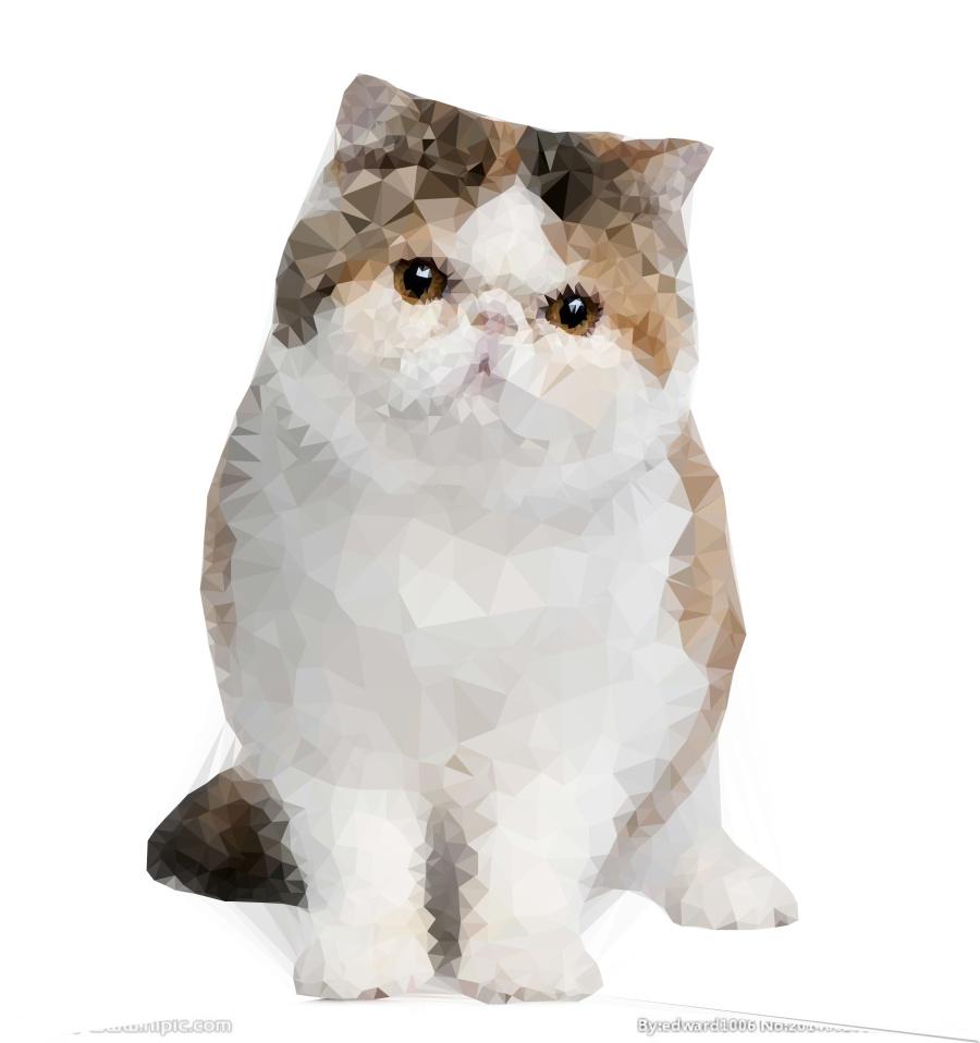 多边形晶格化--一只可爱的加菲猫|图形/图案|平