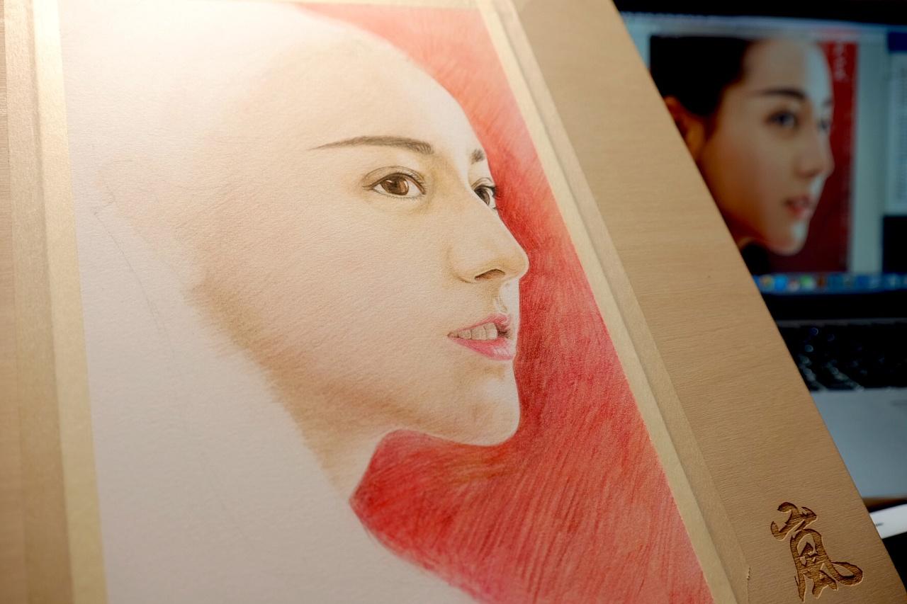 人物彩铅画——迪丽热巴