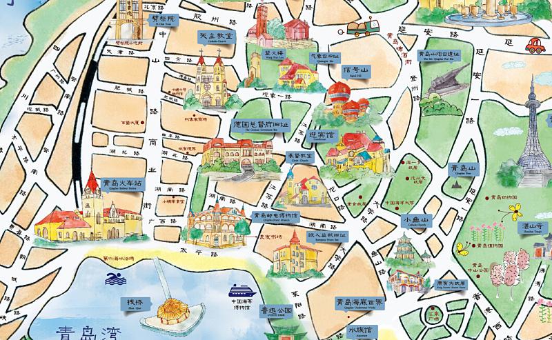 青岛手绘旅游地图