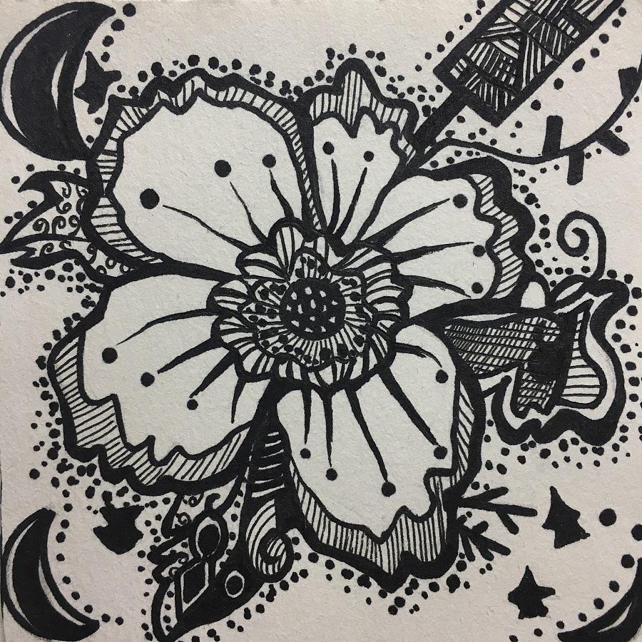 花卉黑白装饰画
