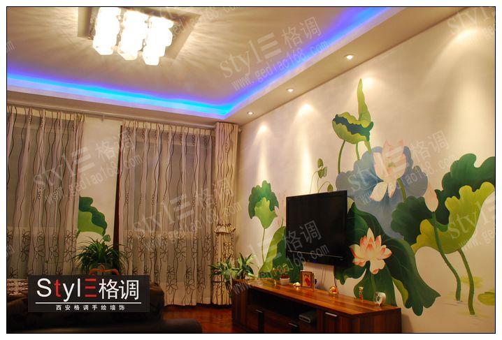 西安格调手绘墙作品分享-荷塘月色